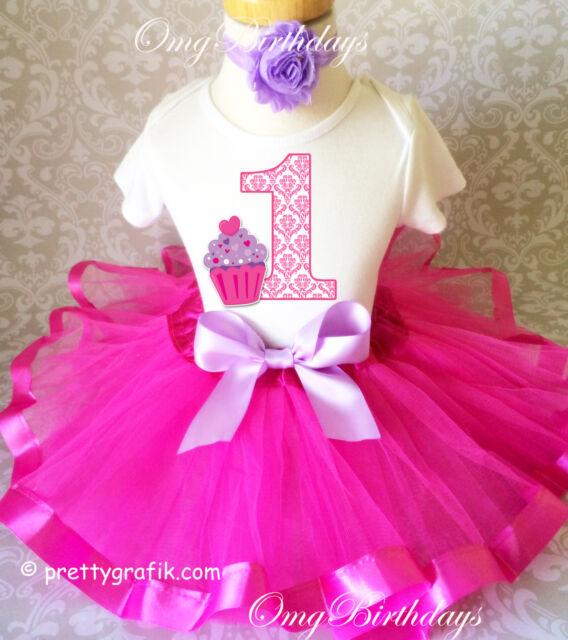 Purple Pink Damask Cupcake Girl 1st Birthday Shirt Tutu Outfit Set Party Set