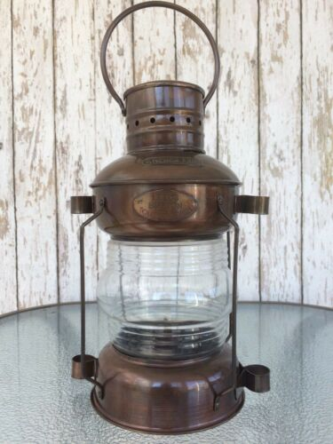 Iron Ship Lantern ~ Antique Finish ~ Nautical Maritime Oil Lamp Light