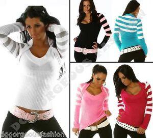 New-Sexy-Ladies-Womens-V-Neck-Jumper-Striped-Sweater-Bolero-Tops-size-8-10-12