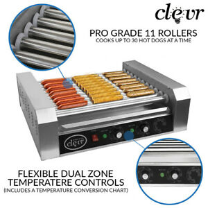 Clevr-Commercial-Hotdog-Machine-11-Roller-and-30-Hot-Dog-Grill-Cooker-Warmer
