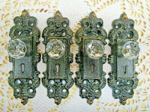 VINTAGE-STYLE-DOOR-PLATES-with-ACRYLIC-GLASS-KNOBS-ANTIQUE-TEAL-GREEN