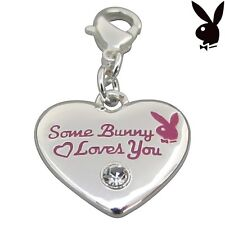 Playboy Charm Silver Plated Heart Bunny Crystal Bracelet Necklace Pendant 42