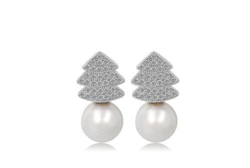 18k GP Shell Pearl Pine Tree Christmas Tree Stud Earring//3 Different Colors