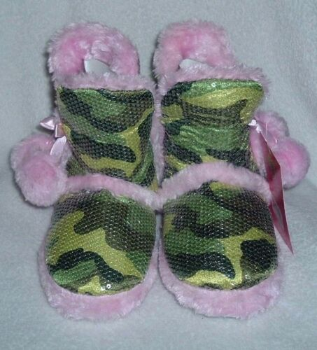 Girl/'s CAMOUFLAGE Sz 11//12 Sequin Boot SLIPPERS Pink CAMO Shoes ~ NWT