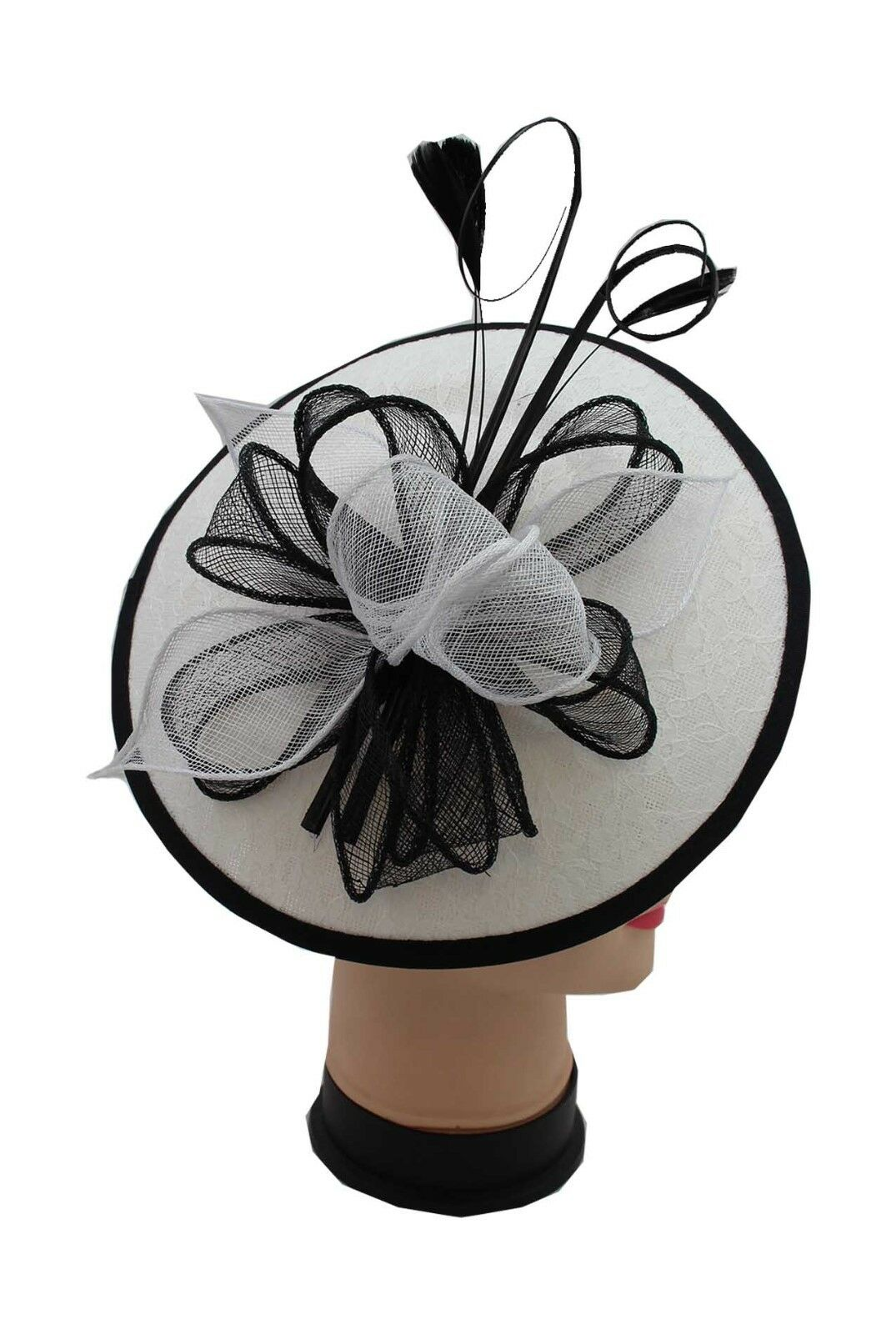 White /& Black Headband /& Clip Hat Fascinator Weddings LadiesDay Race Royal Ascot
