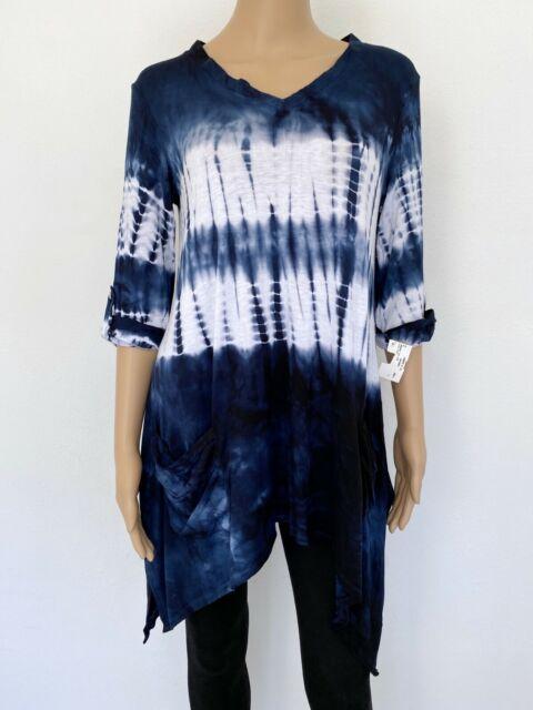 NWT! BOHO CHIC Size L Navy Blue White Pockets Shirt Top Tunic Blouse Women's