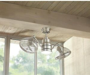 Image Is Loading Outdoor Indoor Twin Oscillating Gyro Ceiling Fan Led