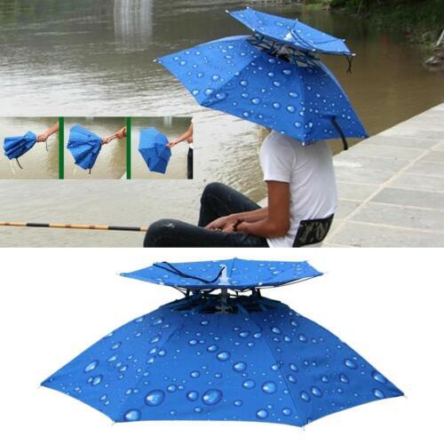 Faltbar Regenschirm Hut Doppel Deck Anti UV Sonnenschutz Außen Regen Kappe Neu