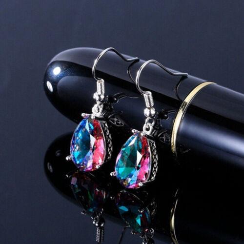 Arco Iris Cristal Estrás Pendientes Mujeres Gota Colgante Zarcillos Joyería Regalo Lu
