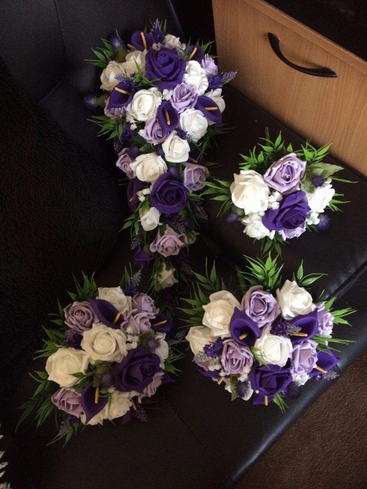 Fleurs mariage artificielle fleur rose paquet DEEP violet & violets & Blanc