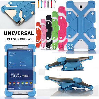 """For 7~8"""" Tablet Adjustable Case Cover Universal Shockproof Silicone Kids +Stylus"""