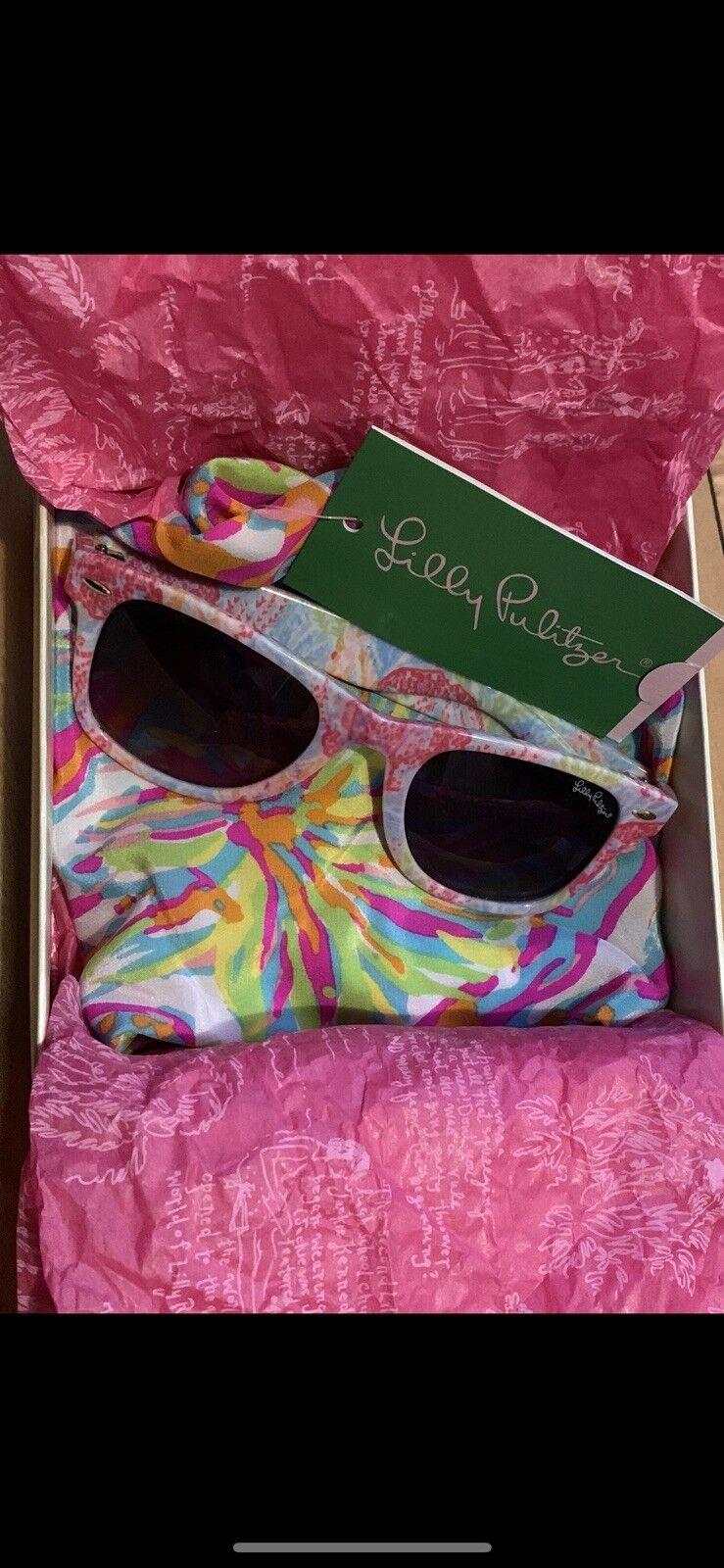 2pc NEW Lilly Pulitzer Let's Cha Cha Sunglasses + Cosmos Top XXS XS Scuba Cuba