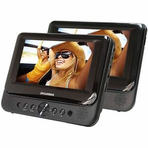 Car-DVD-Player-Dual-Screen-Portable-USB-LCD-Monitors-Black-Built-in-speakers-7-034