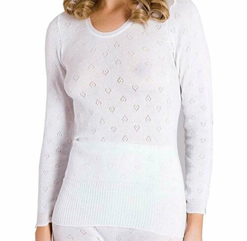 Womens Ladies Thermal Long Sleeved Crew Neck Underwear Vest by Snowdrop-Free Del