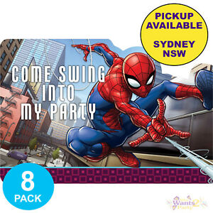 Image Is Loading SPIDERMAN PARTY SUPPLIES 8 INVITATIONS SUPERHERO BIRTHDAY INVITES
