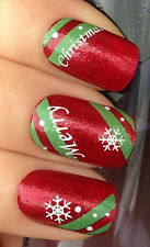 CHRISTMAS NAIL ART WATER DECALS TRANSFERS STICKERS MERRY SNOWFLAKES/STRIPES #808