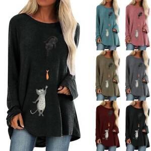Women Cat Print Long Sleeve Baggy Tunic Tops Casual Loose Blouse Shirt Plus Size