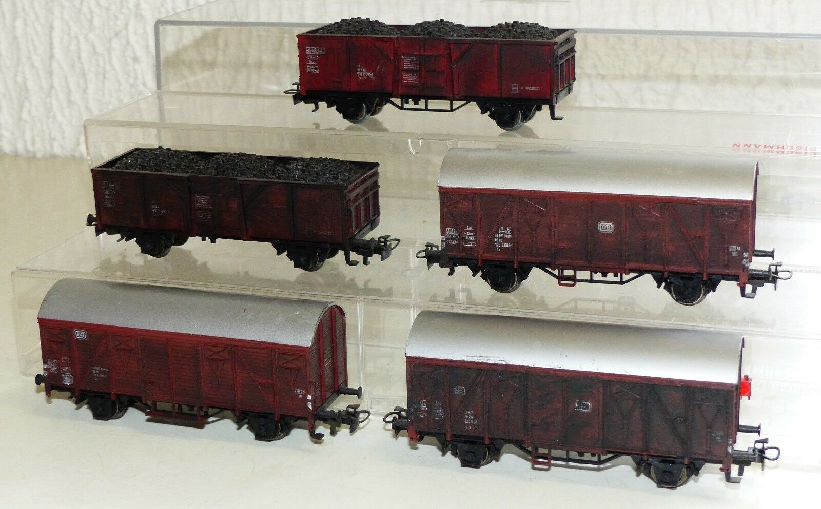 5x Märklin goods wagons, High Board Coal Cargo, Ged. GW Aged h0