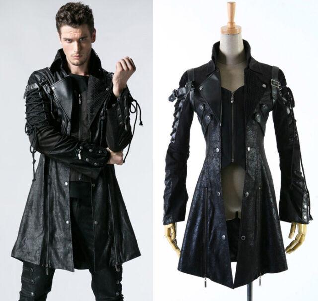 la moitié ac70a 09e26 Veste gothique punk dandy steampunk sangle laçage cuir vegan PunkRave homme  Noir