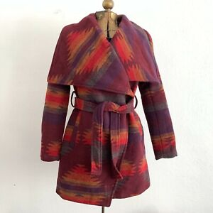 Steve-Madden-Indian-Blanket-Wrap-Coat-Southwestern-Aztec-Western-Ranch-Size-XS