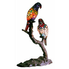 Accent Table Lamp Handmade Tiffany Style Stained Glass Exotic Birds Metal Base
