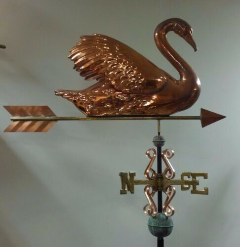 Beautiful copper large 3D Swan Weathervane with arrow COMPLETE as shown.