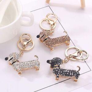 Handbag-Crystal-Keyring-Bling-Jewelry-Keychain-Dog-Dachshund-Pendant