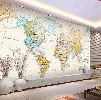 Watercolor World Map Wallpaper Decals 3d Art Print Mural Business