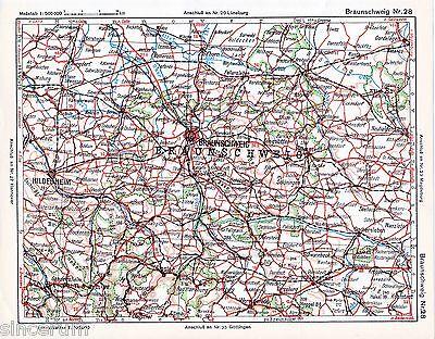 Genossenschaft Hildesheim Braunschweig Halberstadt 1925 Autoatlas-karte Einbeck Goslar Gifhorn