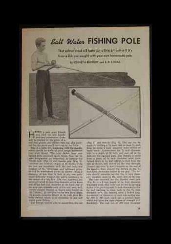 Salt Water Fishing Pole Rod 1947 Comment construire des plans