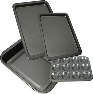 Set-Of-4-Large-Non-Stick-Tray-Oven-Baking-Roasting-Bun-Sheet-Dish-Tin-Trays