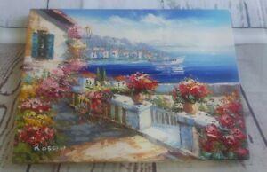 "Original Canvas Oil Painting Signed Rossini Italian Seascape Villas - 16"" x 12"""