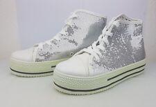 shiny women girl sequins hidden heels sneakers lace up platform shoes. NEW