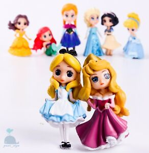 8pcs-Disney-Princess-Mini-Dolls-Resin-Character-Figures-Elsa-Anna-90mm-2019