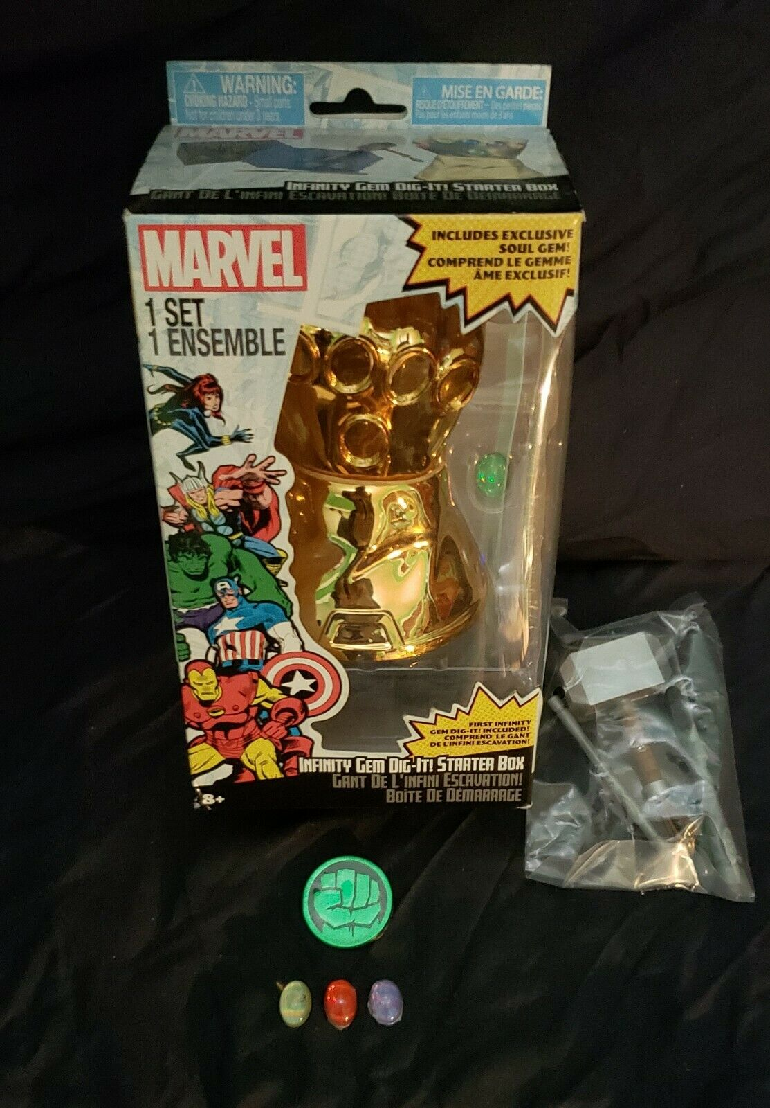 Marvel's dig it infinity gauntlet with gems stones and hero coin