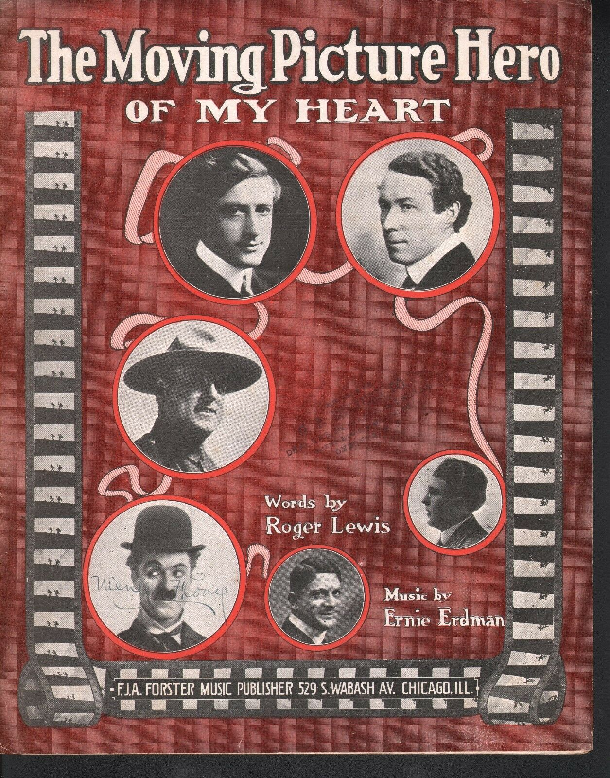 Moving Picture Hero of My Heart 1916 Charlie Chapman Large Format Sheet Music