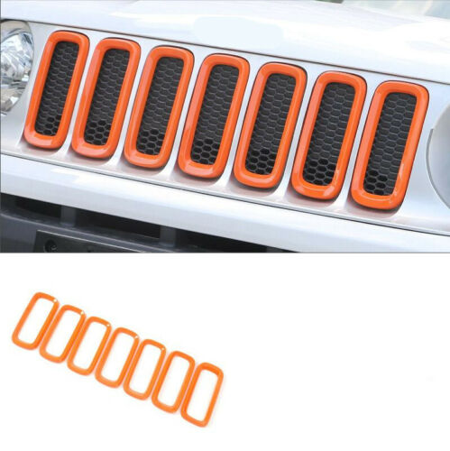 Front Grill Insert+Angry Eyes Headlight Bezel Cover For Jeep Renegade Orange