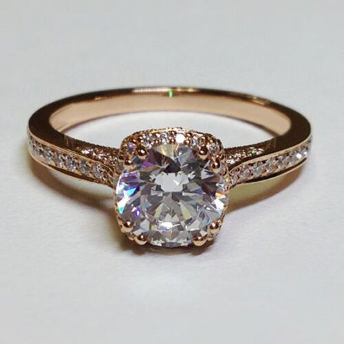 1.44 Ct Sim Diamond 14K Rose Gold Over Solitaire W//Accents Engagement Ring