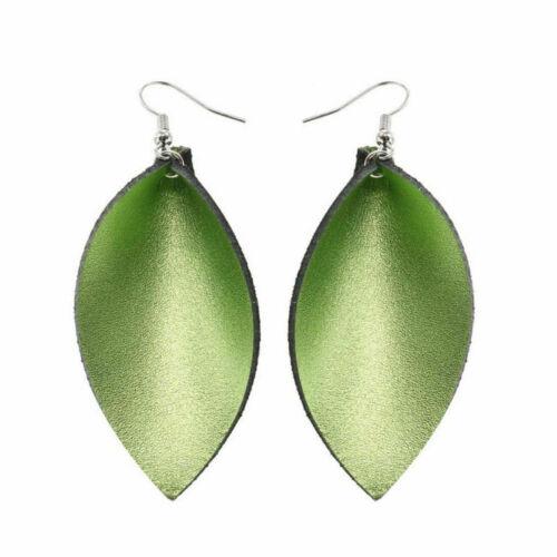 tear drop ear Bohemian leaf  stud handmade leather earrings jewelry lady new