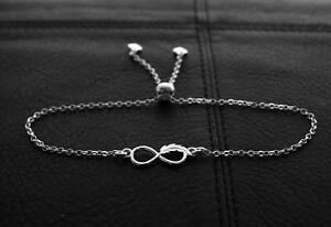 925-Sterling-silver-Charm-Infinity-feather-Symbol-Bracelet-Adjustable-Length