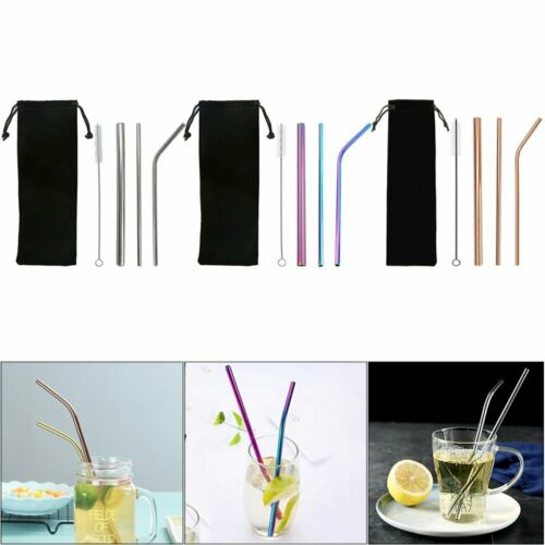 Reusable Stainless Steel Extra Wide Drinking Smoothie Bubble Tea Straw Straws @D