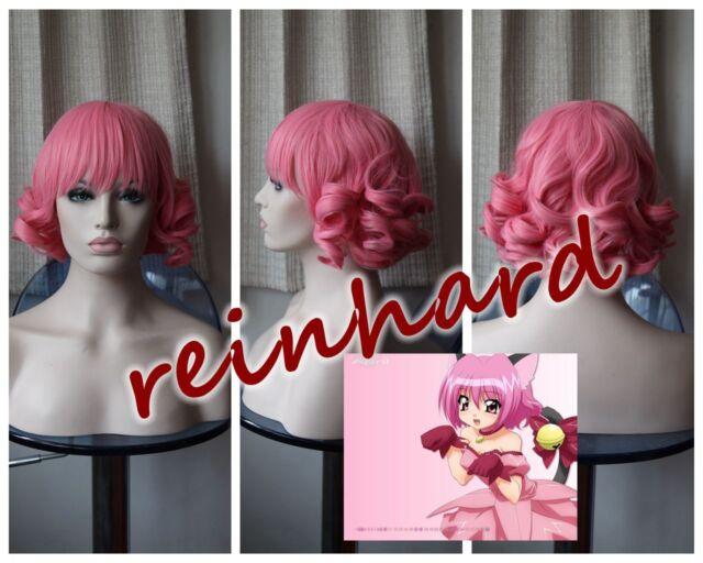 Tokyo Mew Mew- MomomiyaIchigo Cosplay Anime Full Wig (Pink Short Curls )