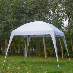 Outsunny 9.75x9.75ft Instant Outdoor Event Tent Pop Up Canopy Tent Slant Legs