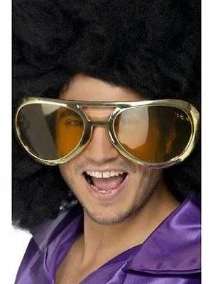 Funky Cool Jumbo Giant Gold Elvis Rock Icon Star Sun glasses Shades Fancy Dress