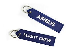 Porte clé aviation Airbus flight crew tissu épais brodé 2 faces cadeau sympa