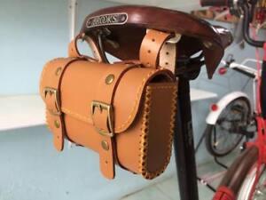 59dc955e79 Image is loading Leather-bicycle-saddle-bag-HANDMADE-for-Brompton-Brooks-