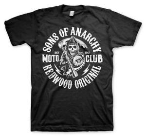 T-shirt Sons of Anarchy SOA Redwood original Moto Club maglia Uomo Hybris