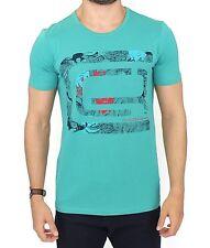 NWT $180 CLASS ROBERTO CAVALLI Blue Cotton Stretch Crewneck Motive T-shirt s XXL