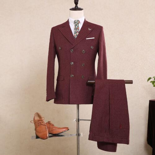 Men/'s Burgundy Double Breasted Stripe Suit Wedding Groom Tuxedos Dinner Suit