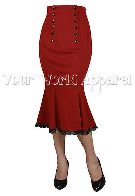 RETRO DOUBLE BUTTON RED HIGH WAIST SKIRT PINUP 1950's VINTAGE ROCKABILLY GOTHIC